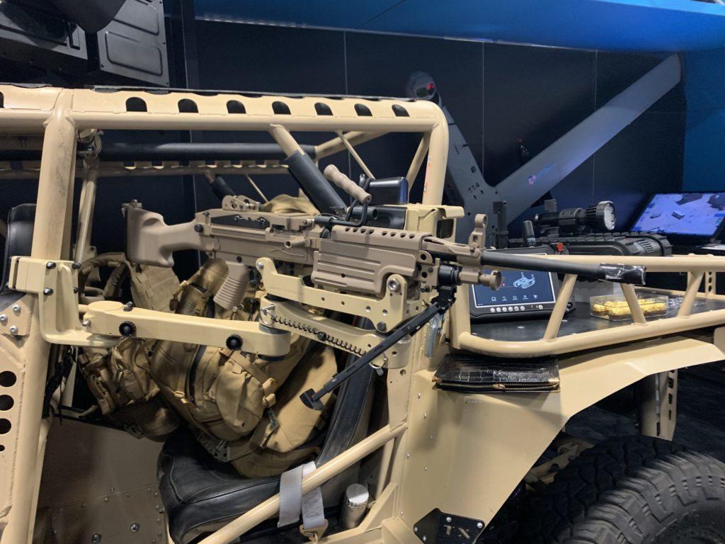 MSG Swing Arm and M249 Machine Gun Mount on Comframe Tomcar AUSA 2019